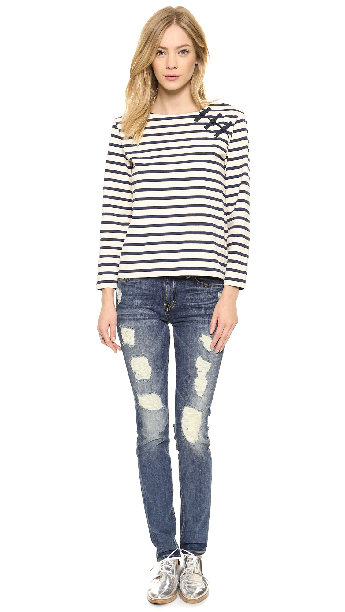 7 for all mankind the super destroy skinny jeans