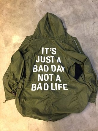 jacket tumblr parka customized quote on it army green jacket