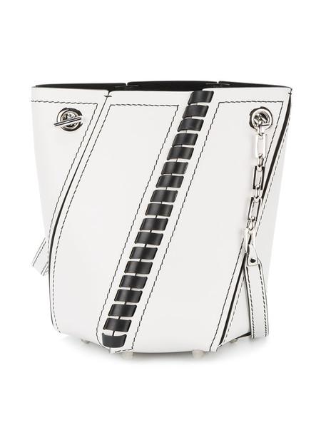 mini women bag bucket bag leather white