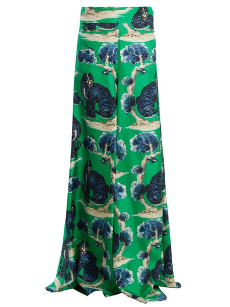high print silk green pants