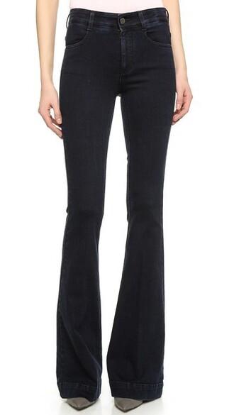 jeans flare long blue black
