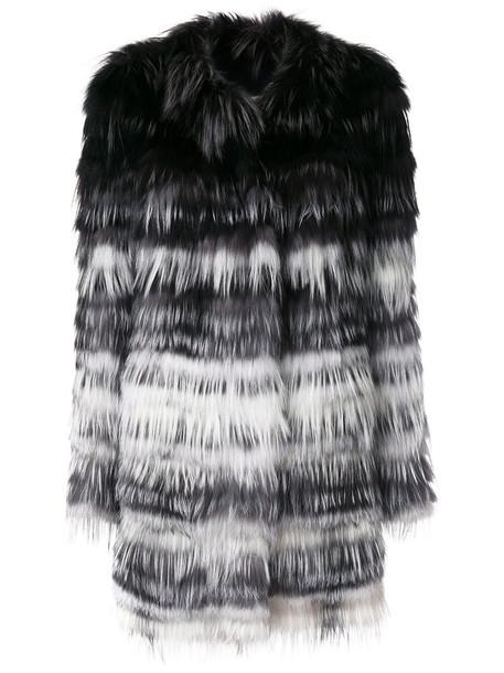 jacket striped jacket fur fox women spandex cotton black