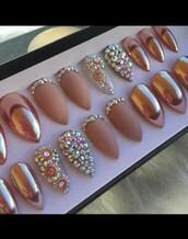 nail accessories,nails,beauty accessories,acrylic nails,rose gold,fake nails