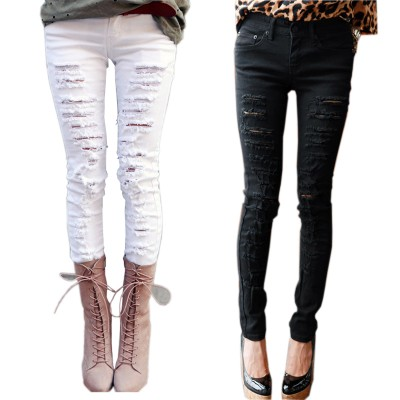Sexy casual black or white destryed ripped women's jeans