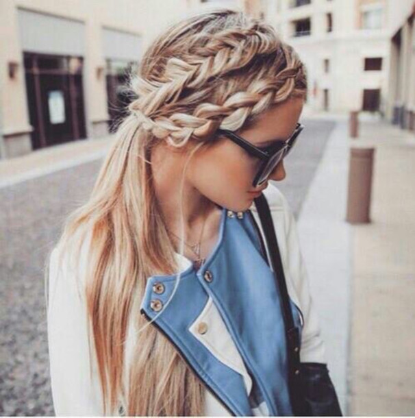 jacket leather jacket braid blonde hair streetwear streetstyle fall outfits