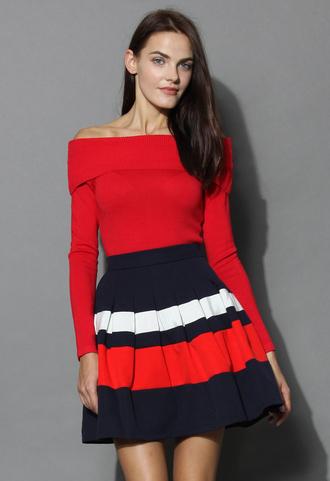 top grace off-shoulder cowl neck knit top in red red chicwish off the shoulder top neck knit top