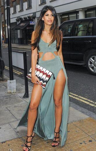 dress slit dress cut-out dress cut-out maxi dress summer dress jasmin walia sandals