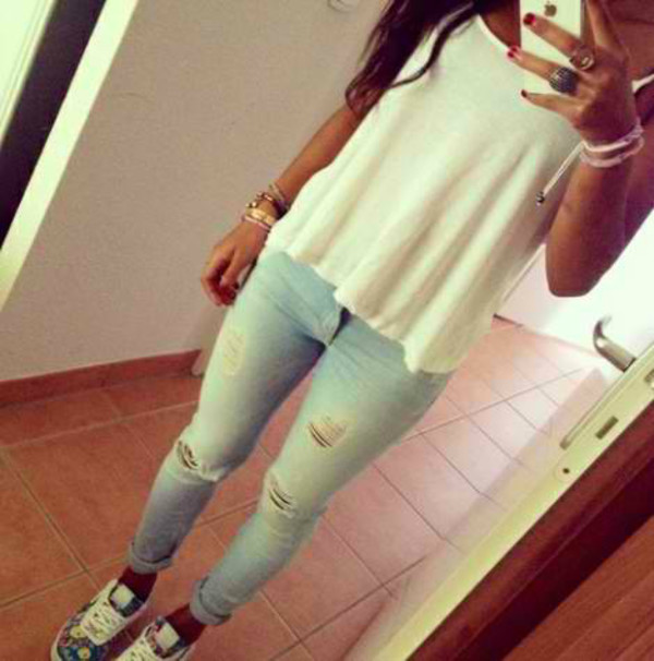 jeans tank top white top top summer top short top shirt pants denim jeans blouse t-shirt clothes girl style fashion white shoes ripped jeans high waisted jeans outfit white tank top crop tops white crop tops sports shoes phone accessories