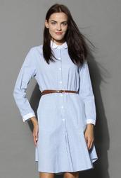 dress,elegant stripes belted shirt dress in blue,chicwish,shirt dress,striped dress,belted dress,blue