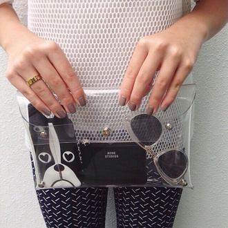 white top mesh top clear transparent bag clutch printed pants dog phone cover