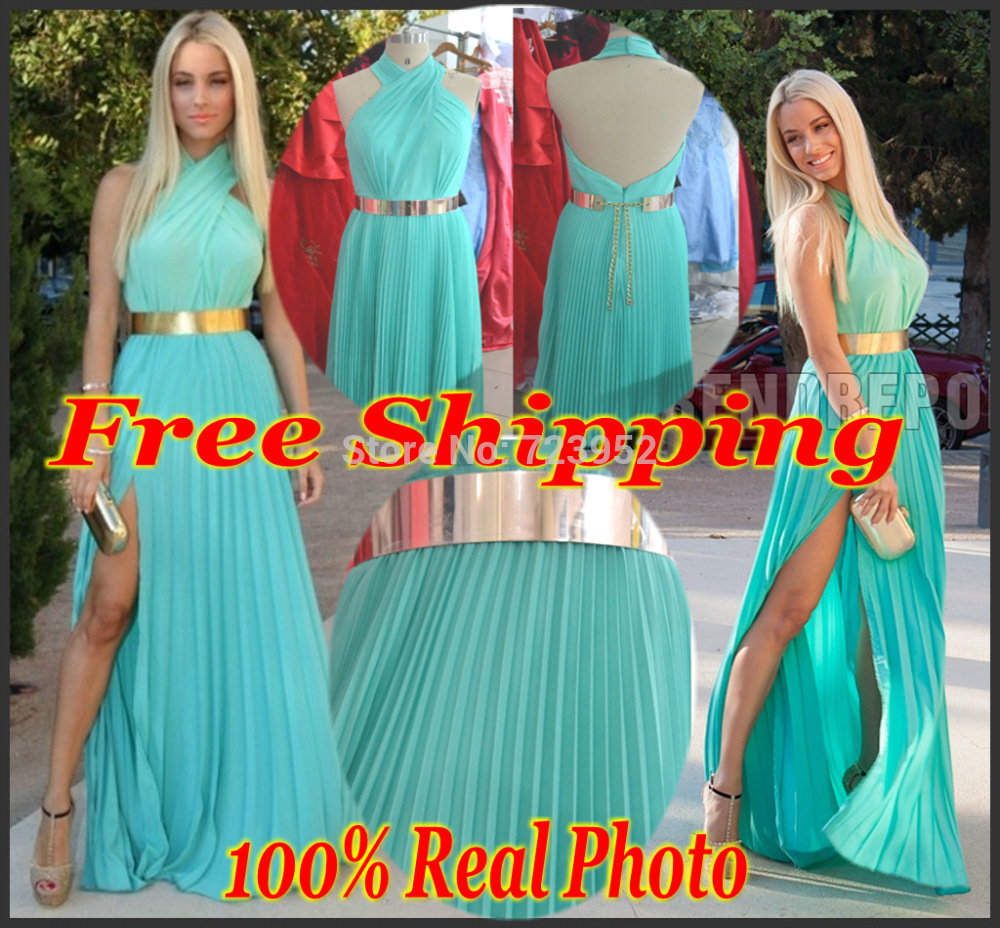 Aliexpress.com : buy real picture new backless wedding events evening party dress halter mint chiffon side slit turquoise gold belt prom gowns from reliable belt men suppliers on suzhou aee wedding dress co. , ltd