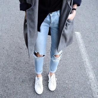 jeans light washed denim acid wash boyfriend jeans knee hole jeans ripped jeans large coat white shoes black top casual tumblr blogger fashionista chill rad outfit idea fashion inspo style stylish trendy on point clothing