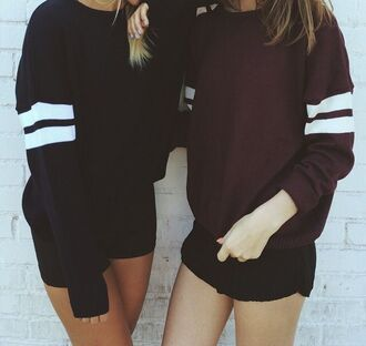 sweater crewneck crew neck crewneck sweatshirts sweatshirt varsity varsity sweater burgundy black stripes fashion girl shorts summer outfits navy long sleeves