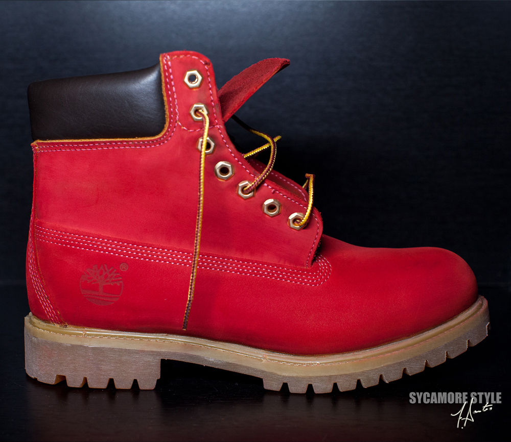 "Custom Dyed Sycamore Style ""Suicide"" Riz Red Timberland Boots 