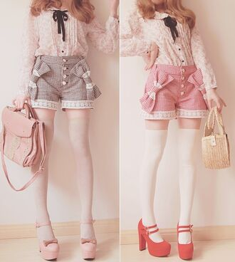 shoes bows red pink platform shoes shorts lace white bag thigh highs black rose floral casual leggings lace trim straps cute collar korean fashion japan korean style button down floral button down white thigh highs white tights blouse socks red shoes red heels pink heels bow heels