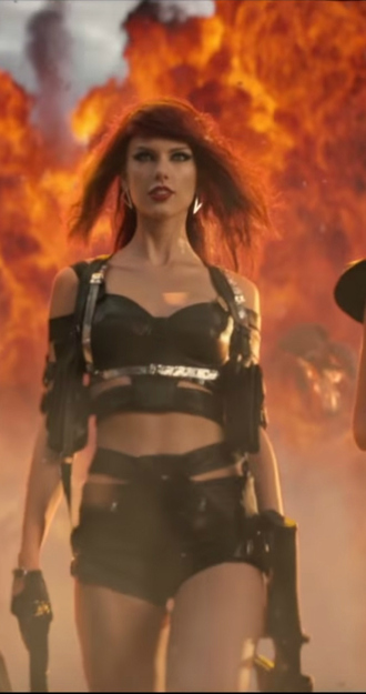 tank top bad blood music video taylor swift badass black shorts black shorts black top black crop top crop tops gun red wig wig red hair hair costume halloween costume gloves