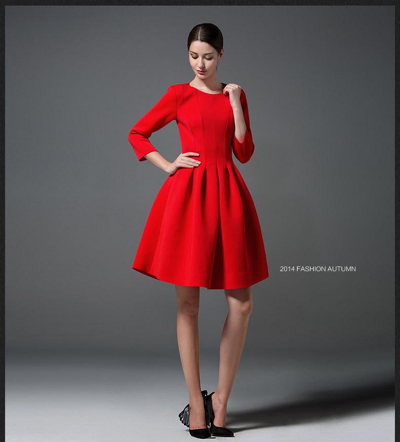 Women Home Dress High Waist Pleated Red Black Elegant Dress Autumn
