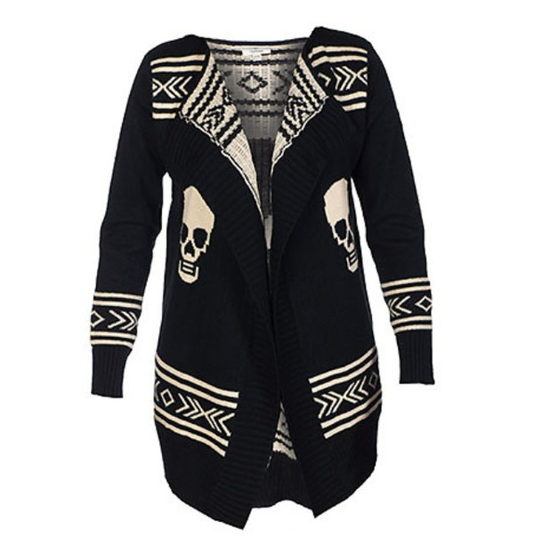 aztec sweater black white skull sweater
