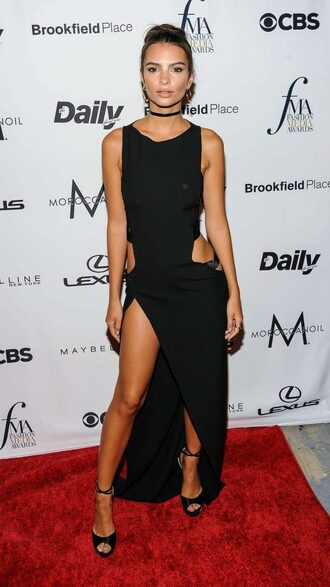 dress prom dress slit dress black dress maxi dress ny fashion week 2016 sandals cut-out dress model off-duty emily ratajkowski black prom dress long black prom dresses prom dress 2016 sexy prom dress
