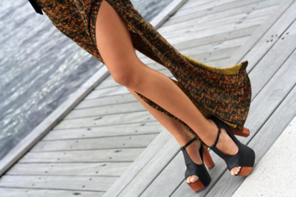 shoes skirt print maxi skirt maxi heels heel high heel wooden wood heel wood black flowy wedges