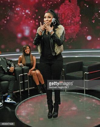 jacket black leather fur love 106andpark new ponytail black nicki minaj style black leather jacket