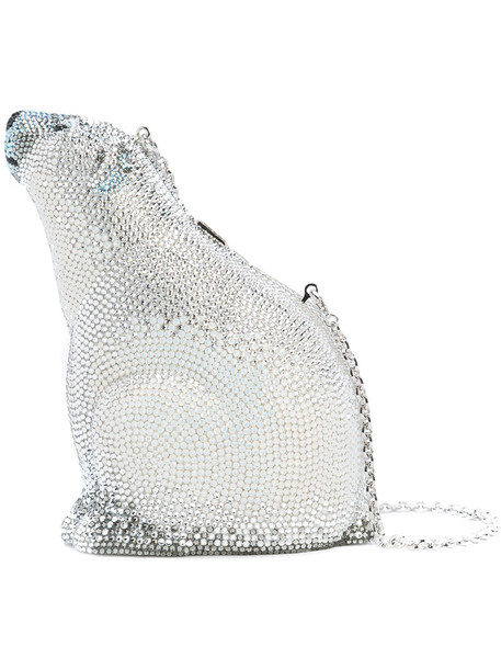 Judith Leiber Couture bear women bag grey blanc metallic