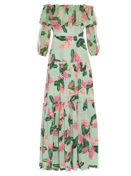 isolda dress silk dress floral print silk green