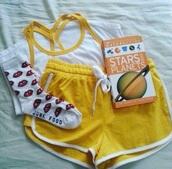 shorts,yellow shorts,booty shorts,gym shorts,yellow,exercise shorts,booty shorts set,art hoe,aesthetic,hipster