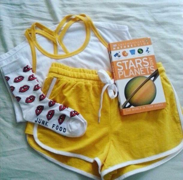 shorts yellow shorts booty shorts gym shorts yellow exercise shorts booty shorts set art hoe aesthetic hipster
