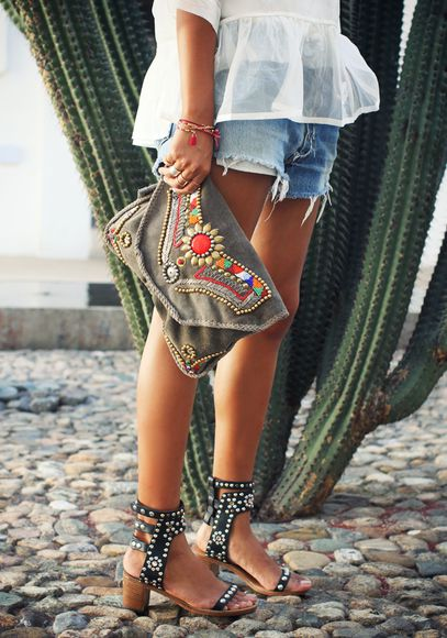 bag boho shoes blogger summer outfits hipster boho chic sandals shorts hippie bracelets sincerely jules blouse pouch shirt denim denim shorts high heels levi's clutch