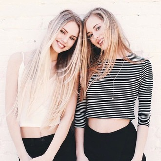 t-shirt top strip crop tops black black jeans summer girly beautiful pretty fashion style necklace high waisted jeans clothes summer top shirt blonde hair jewels platinum hair jewelry