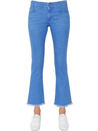 jeans denim cropped cotton blue