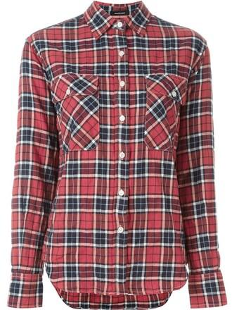 shirt plaid shirt plaid classic red top