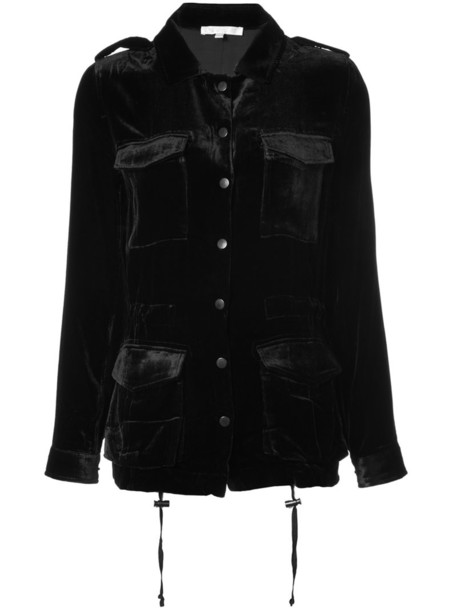 Gold Hawk jacket pocket jacket women black silk