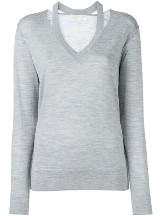 jumper cut-out women grey sweater