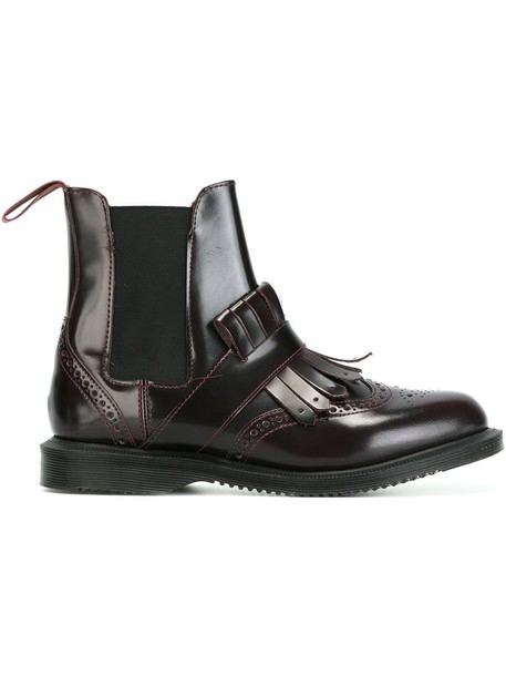 Dr. Martens cherry women spandex boots leather red shoes