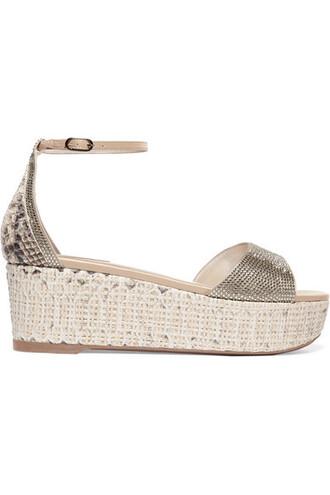 snake python embellished sandals platform sandals print satin snake print shoes