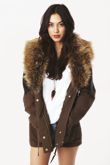 jacket khaki nikki cricket biker jacket with fur in khaki biker jacket fashion union