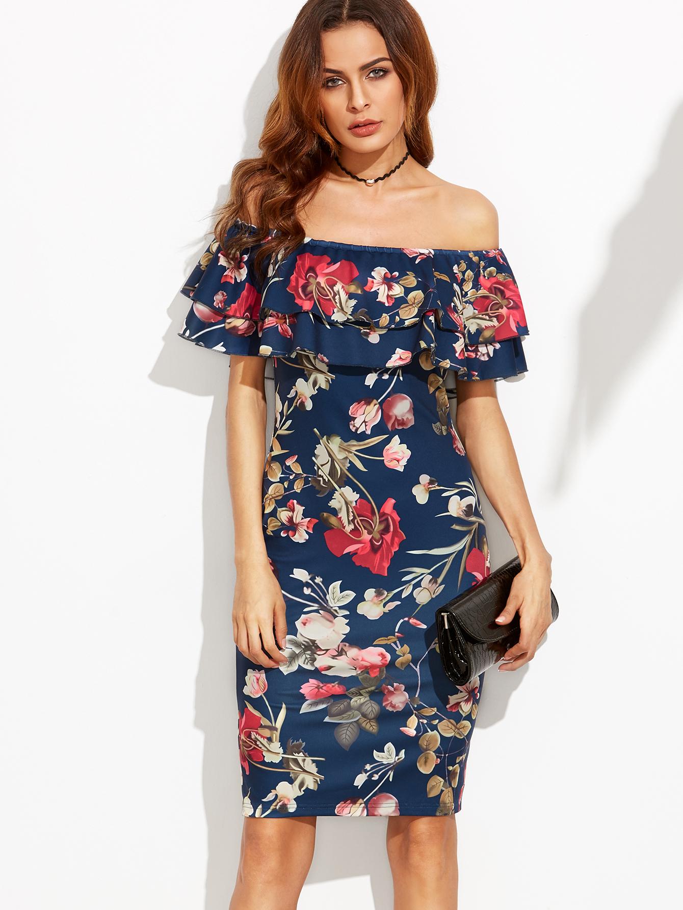 210c368479 Floral Print Off The Shoulder Ruffle Sheath Dress -SheIn(Sheinside)