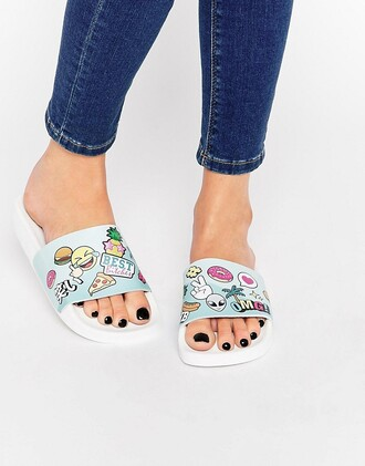 shoes slide shoes emoji print alien hamburger