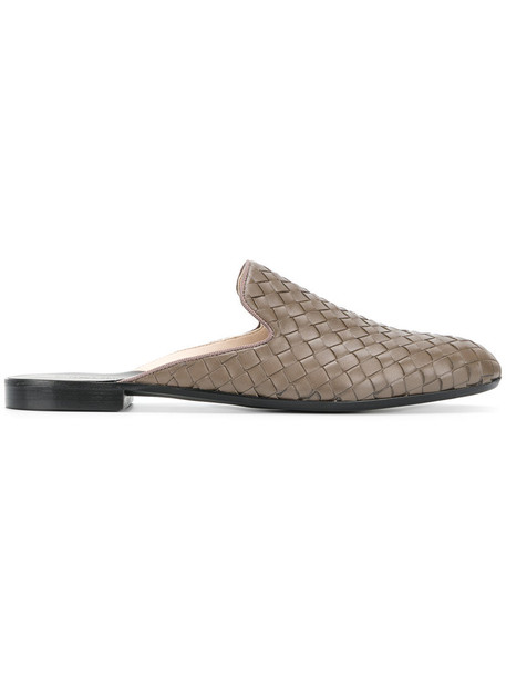 Bottega Veneta women mules leather brown shoes