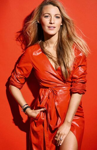 dress wrap dress red dress red blake lively editorial gown