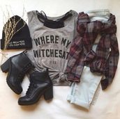 top,t-shirt,flannel shirt,boots,beanie,jeans,shoes,blouse,grey t-shirt,grey top,witch,black top,fashion,style,black shoes,little black boots,grunge,cardigan,mid heel boots