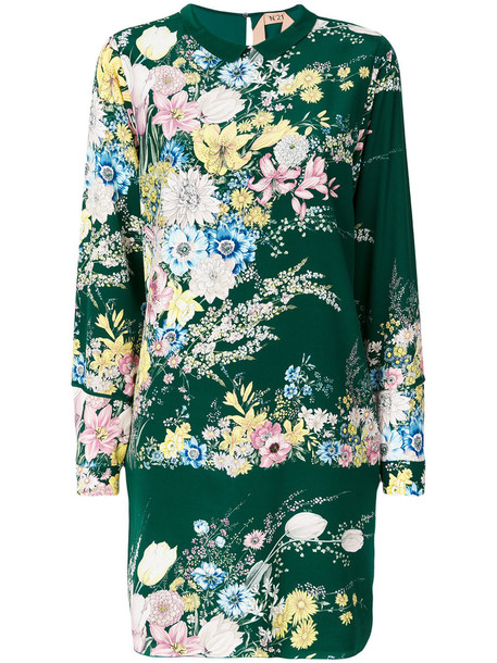 No21 dress print dress women floral print silk green