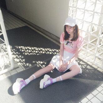 style2bones blogger cyber socks tennis skirt pale