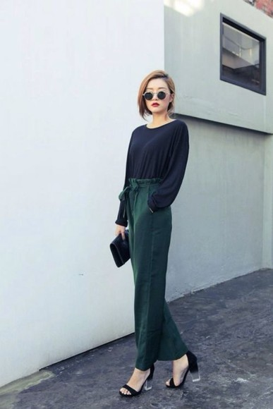 black heels classy palazzo pants wide-leg pants forest green