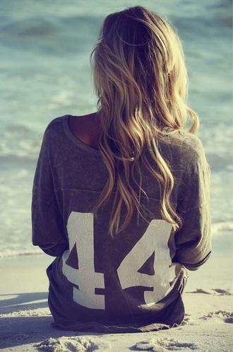 sweater oversized sweater grey shirt baseball shirt t-shirt 44 white number tee grey t-shirt