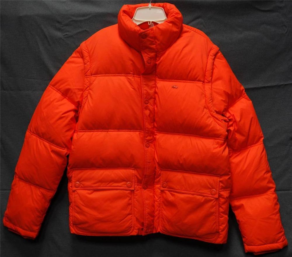 06838fd77338 Lacoste Nylon Puffer Down Jacket Removable Sleeves Bright Orange ...