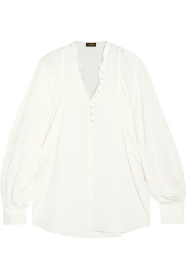 blouse embellished silk cream top