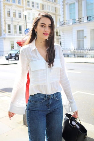 peexo blogger shirt jeans jewels bag white blouse handbag black bag spring outfits white shirt